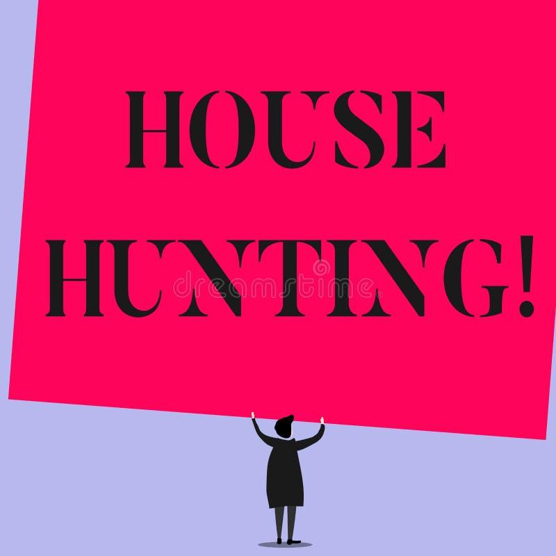 写文本觅房行动的词 搜寻或寻找房子行动的企业概念买或租赁 向量例证
