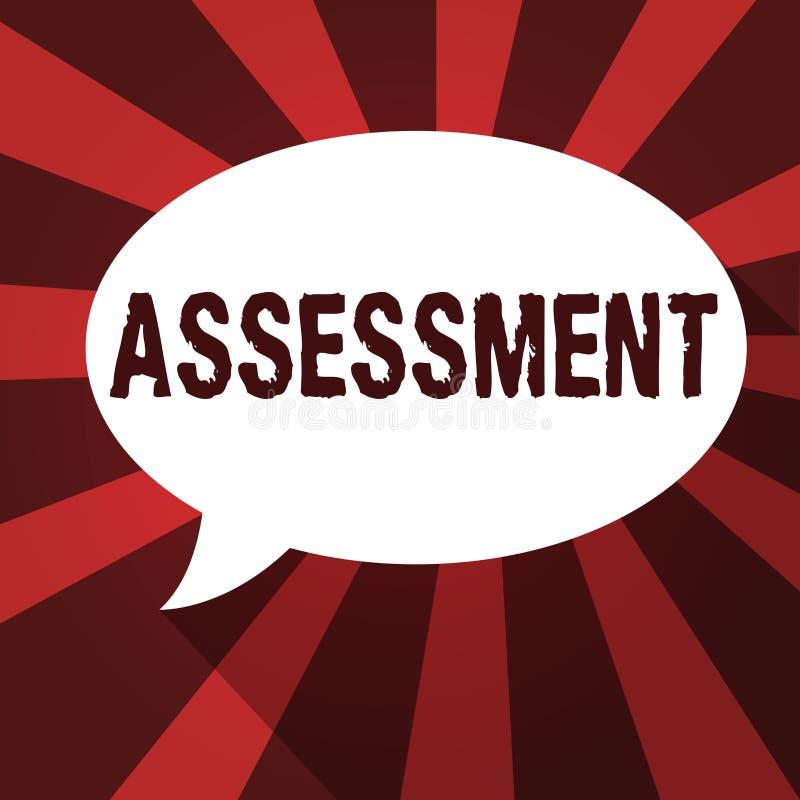 写文本评估的词 判断的某事的决定的数额价值质量重要性企业概念 皇族释放例证