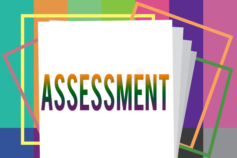 写文本评估的词 判断的某事的决定的数额价值质量重要性企业概念 向量例证