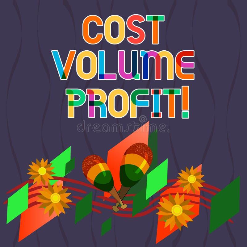 写文本费用容量赢利的词 形式的企业概念的成本会计和这是五颜六色的简化的模型 库存例证
