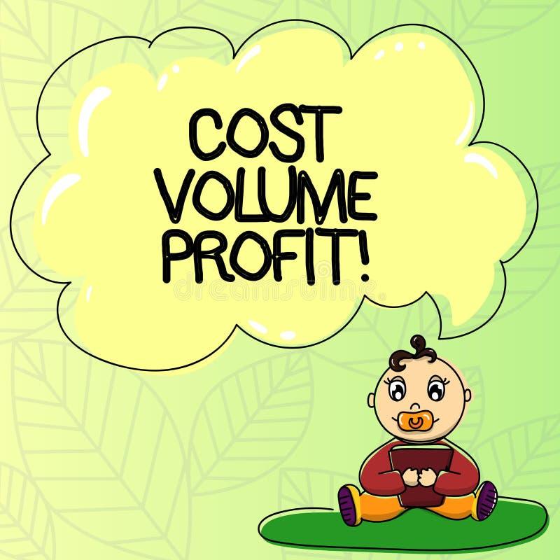 写文本费用容量赢利的词 形式的企业概念的成本会计和这是简化的模型婴孩 向量例证
