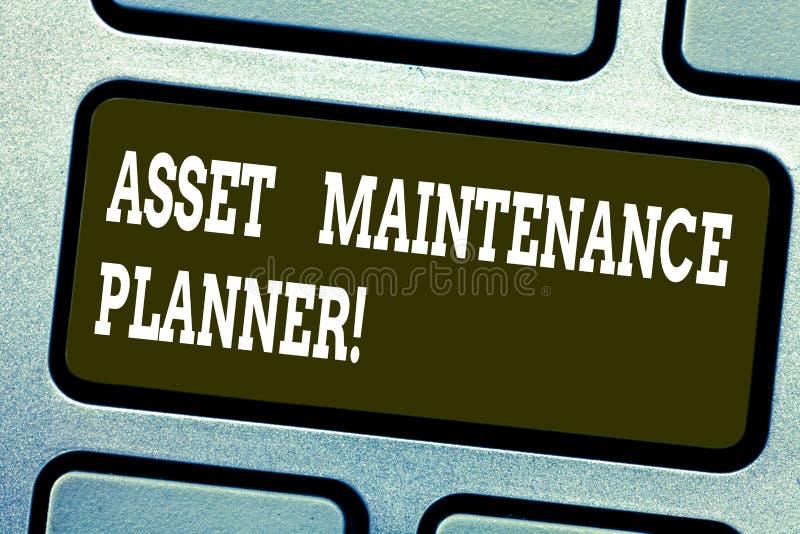 写文本资产维护计划者的词 能力的企业概念能实施被构造的维护计划 库存图片