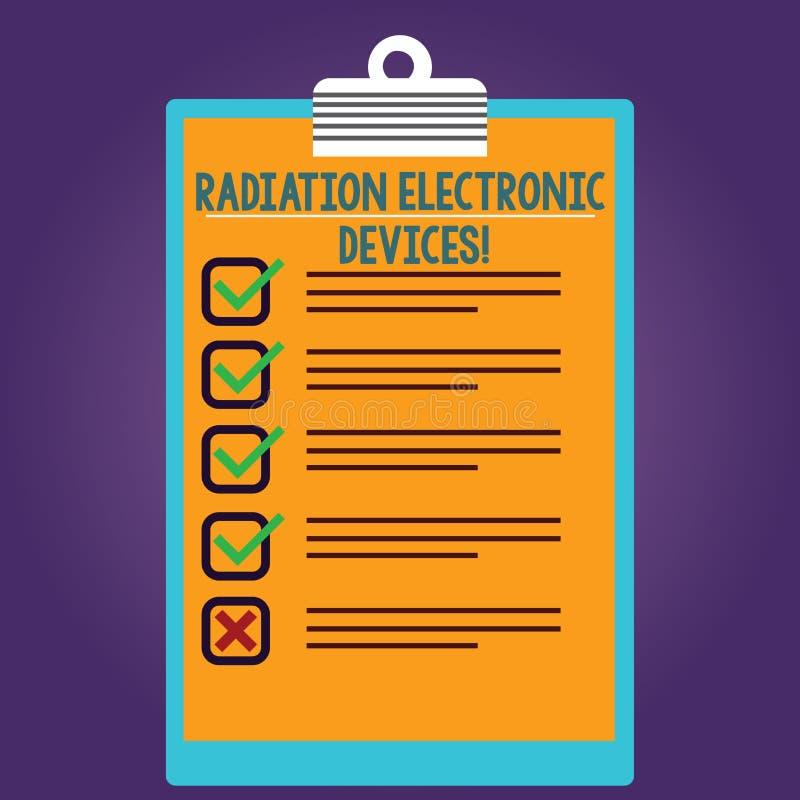 写文本辐射电子设备的词 电子设备散发的射频的企业概念排行了 库存例证