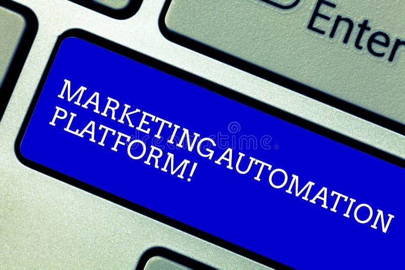 写文本销售的自动化平台的词 企业概念为自动化反复任务与销售有关 免版税库存图片
