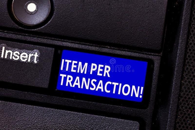 写文本项目每种交易的词 在每个顾客成交卖的产品的平均数字的企业概念 免版税库存图片
