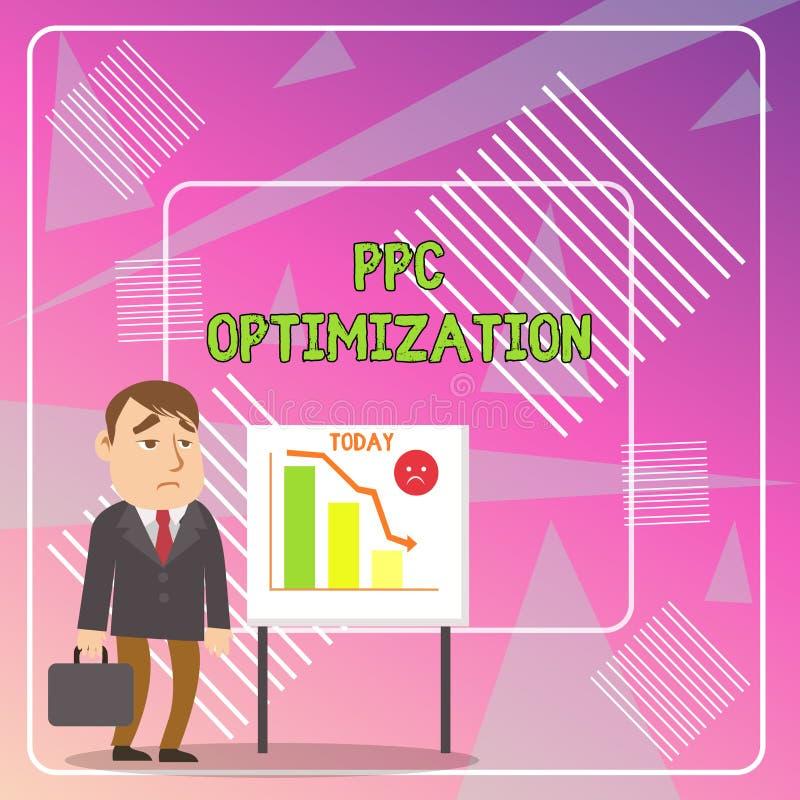 写文本Ppc优化的词 搜索引擎平台的改进的企业概念薪水的每点击 库存图片