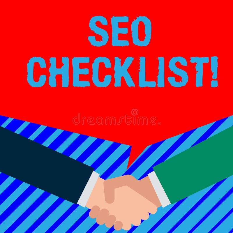 写文本Seo清单企业概念的词为项目名单要求优选搜索引擎两个人 向量例证