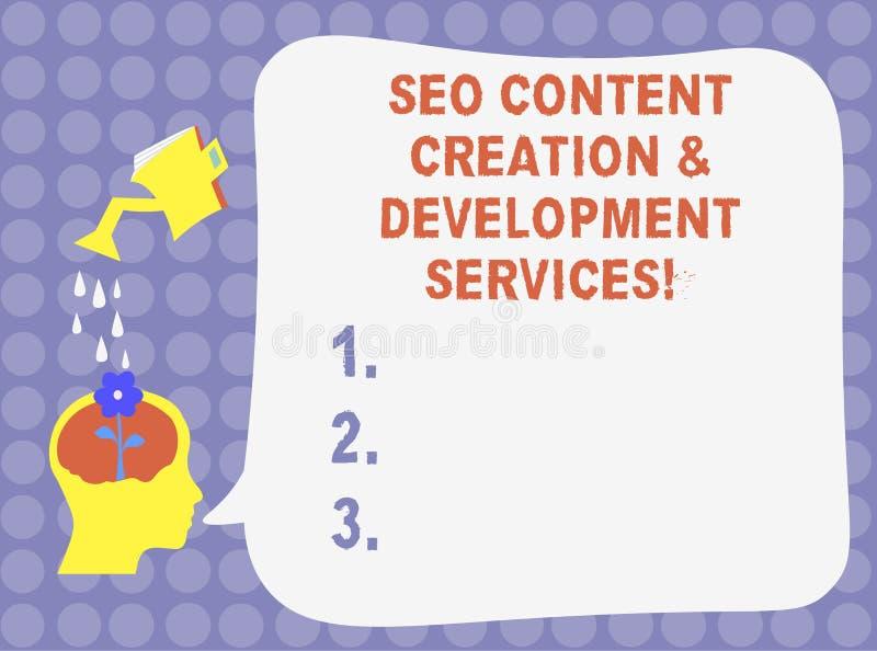 写文本Seo美满的创作和发展服务的词 搜索引擎优化水的企业概念 向量例证