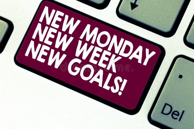 写新的星期一新的星期新的目标的手写文本 下星期意味决议的概念做名单目标目标 免版税库存照片