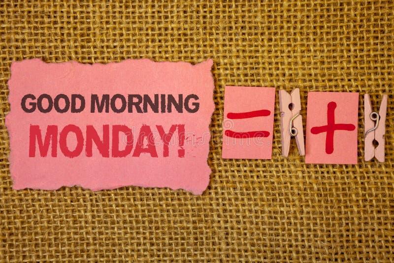 写早晨好星期一诱导电话的手写文本 意味愉快的阳精力充沛的早餐黄麻的概念袋装pl 图库摄影
