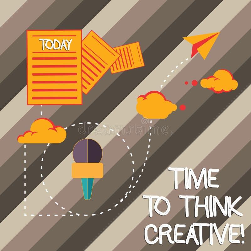 写时刻的手写文本认为创造性 意味创造性创新见解的概念认为启发 库存例证