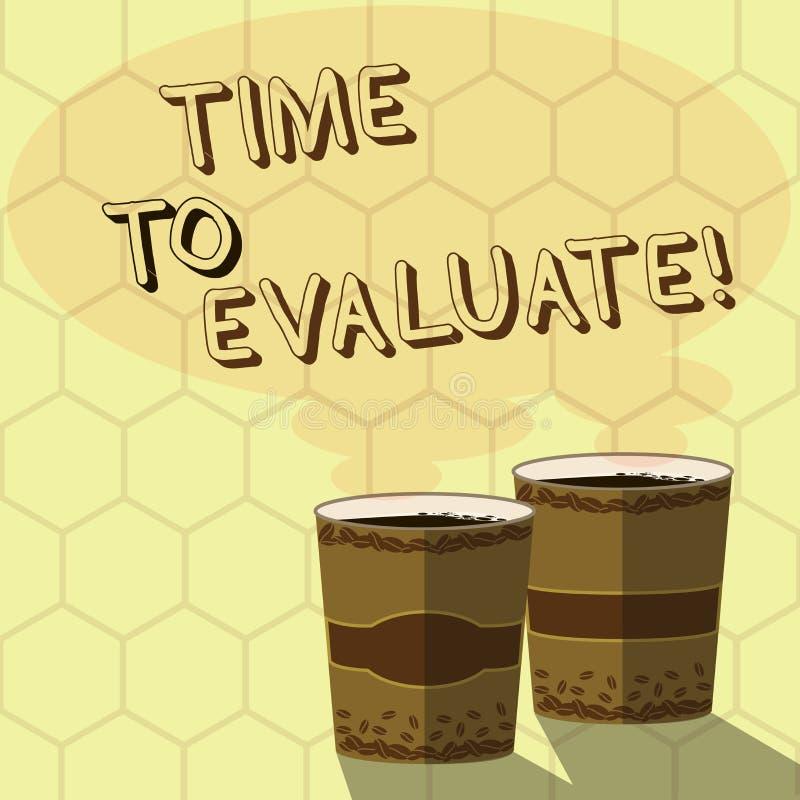 写时刻的手写文本评估 概念意思在产品前使用的片刻率或服务给反馈两 库存例证