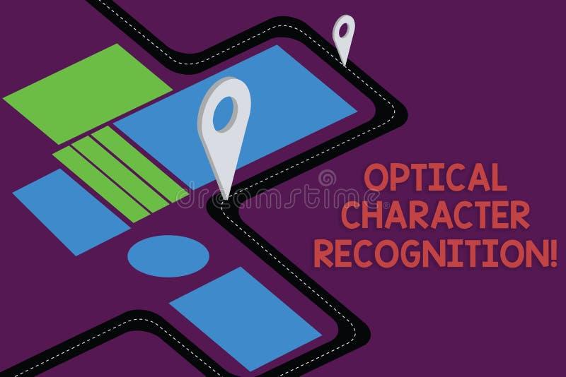 写显示光学字符的公认的笔记 陈列打印的字符的证明的企业照片 向量例证