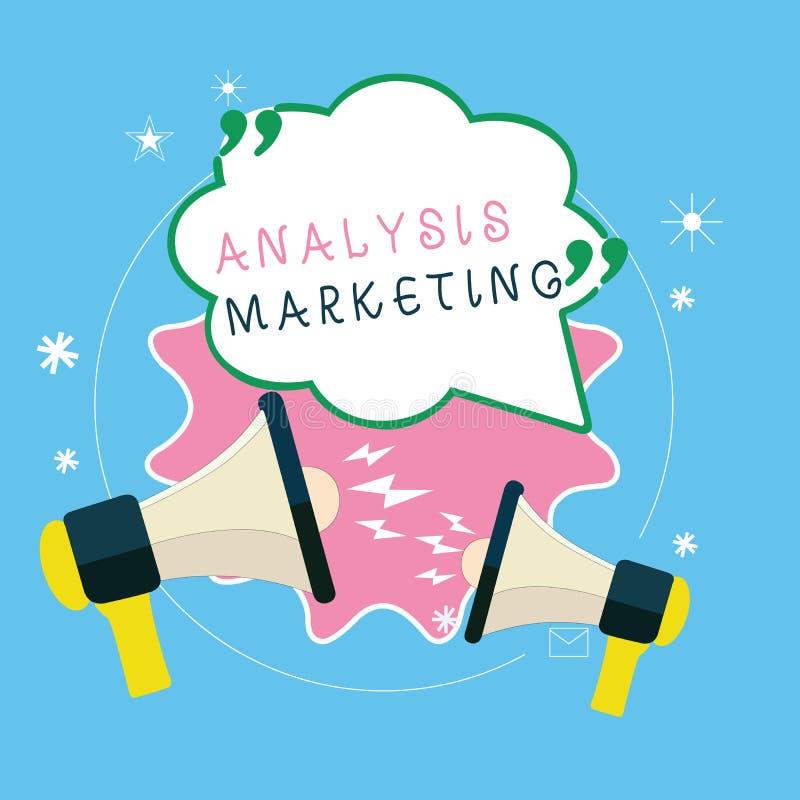 写显示分析行销的笔记 陈列对市场的定量和定性评估的企业照片 库存例证