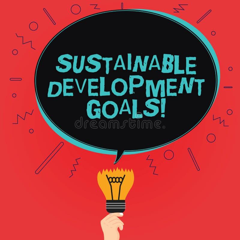 写显示可持续发展目标的笔记 企业照片陈列团结国家全球性视觉为 向量例证