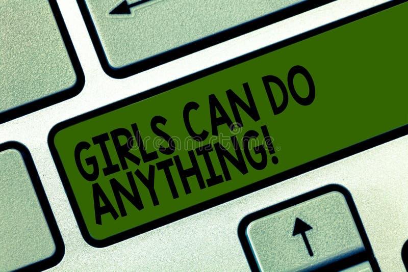 写显示女孩的笔记可能做任何东西 企业照片陈列的妇女供给女性援权领导动力 免版税库存图片