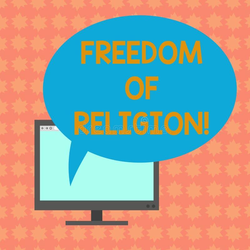 写显示宗教信仰自由的笔记 企业照片陈列的权利奉行任何宗教一选择 向量例证