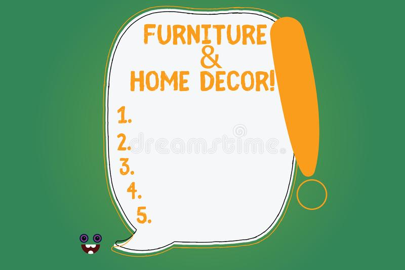 写显示家具和家庭装饰的笔记 陈列室内设计创造性的现代房子的企业照片 库存例证