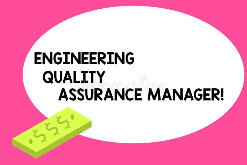 写显示工程学质量管理经理的笔记 企业照片陈列的评估产量控制单位  库存例证