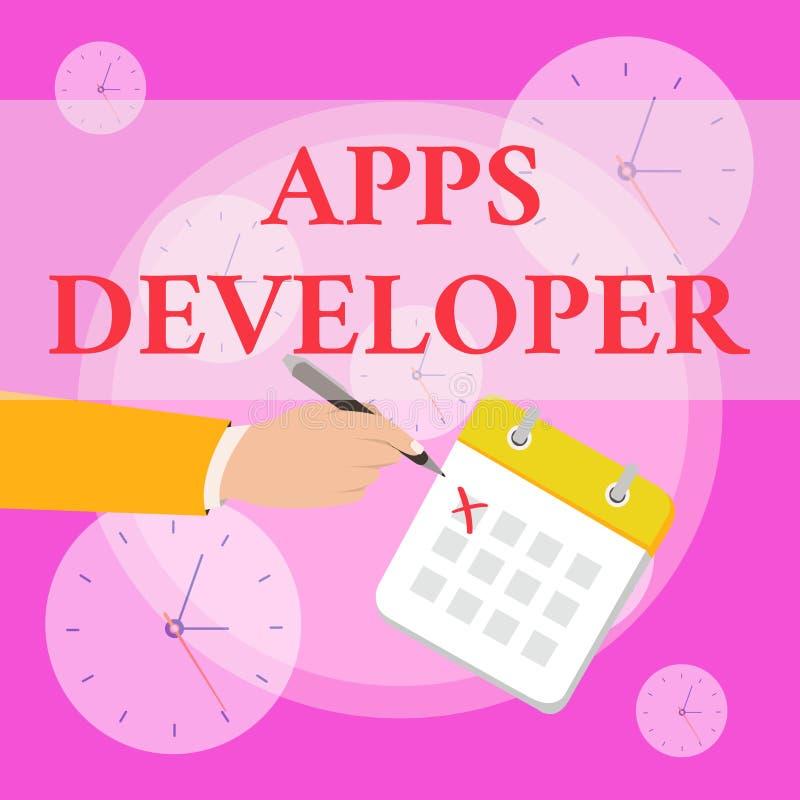 写显示应用程序开发商的笔记 陈列形象艺术家软件程序员和分析家专家的企业照片 向量例证