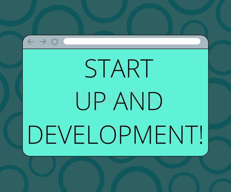 写显示开始和发展的笔记 陈列新的企业成功公司项目战略显示器的企业照片 库存例证