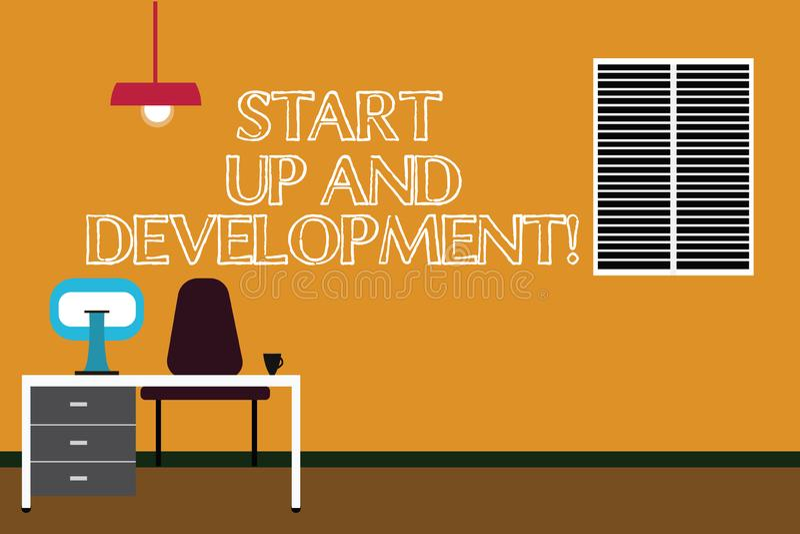 写显示开始和发展的笔记 陈列新的企业成功公司项目战略的企业照片 向量例证