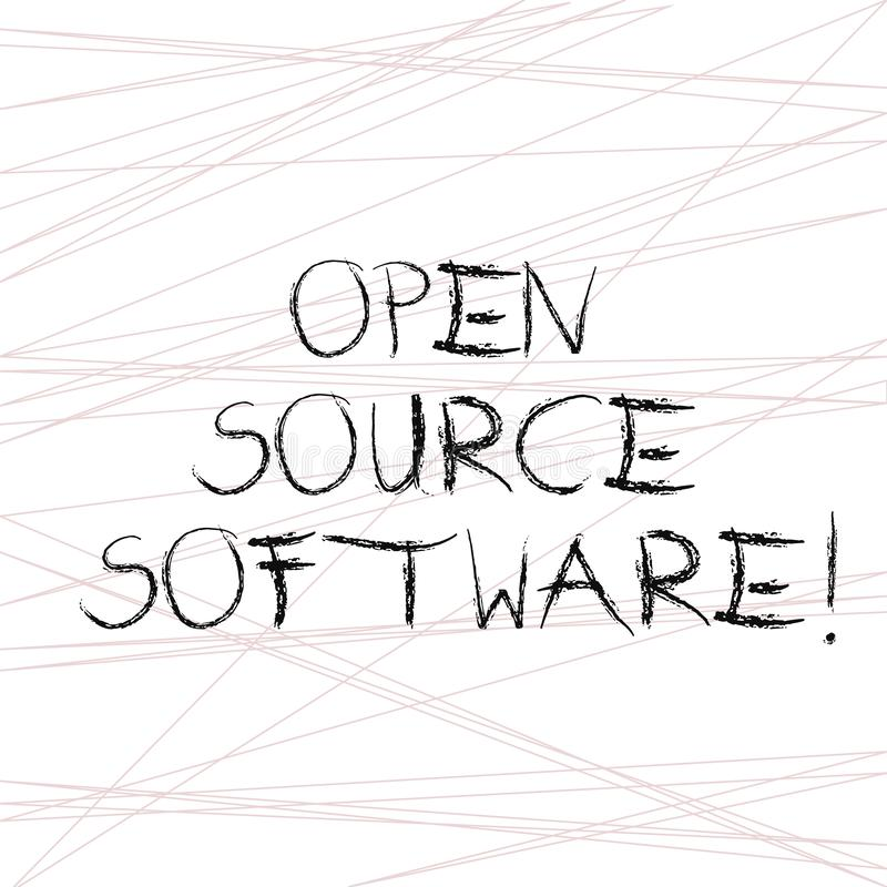 写显示开放来源软件的笔记 与任何人可能修改的原始代码的企业照片陈列的软件 库存例证