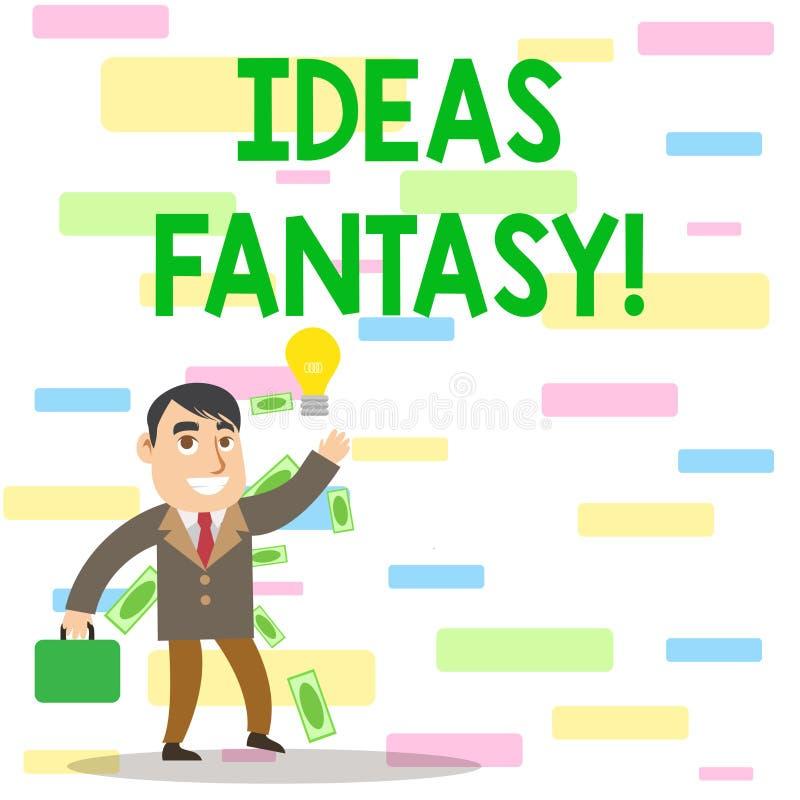 写显示想法幻想的笔记 某人从他们的想象力创造的企业照片陈列的情况 皇族释放例证