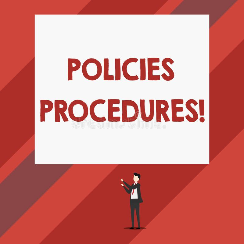 写显示政策做法的笔记 企业照片陈列的影响主要决定和行动规则 库存例证