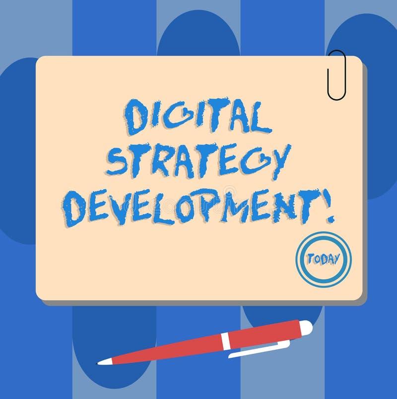 写显示数字战略发展的笔记 陈列企业的照片最大化企业好处财产 向量例证