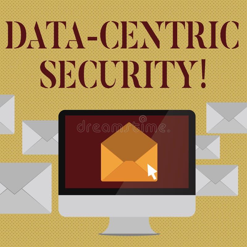 写显示数据中心安全的笔记 陈列企业的照片辨认和保护数据,无论哪里它居住开放 库存例证