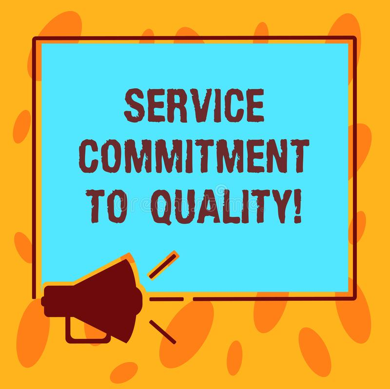 写显示服务承诺的笔记给质量 陈列优秀优质好协助的企业照片 向量例证