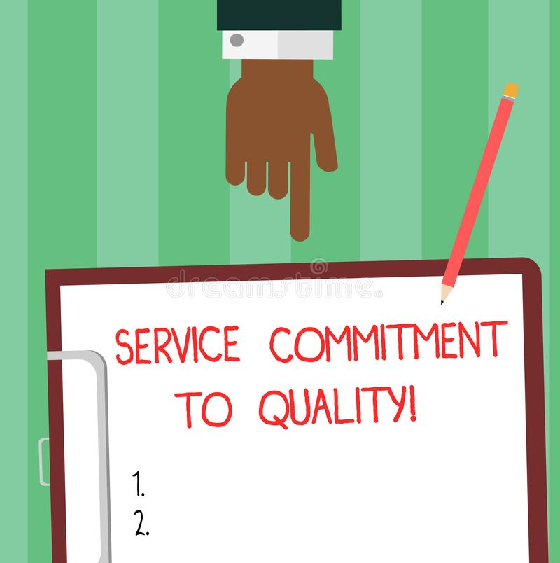 写显示服务承诺的笔记给质量 陈列优秀优质好协助胡分析的企业照片 向量例证