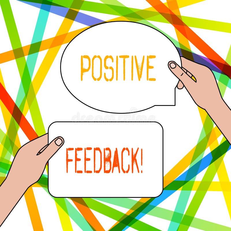 写显示正面反馈的笔记 陈列好和巨大评论的企业照片来自满意 库存例证
