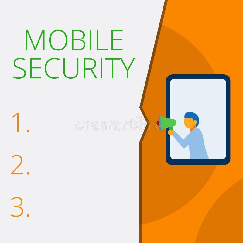 写显示流动安全的笔记 手机的企业照片陈列的保护免受威胁和 库存例证