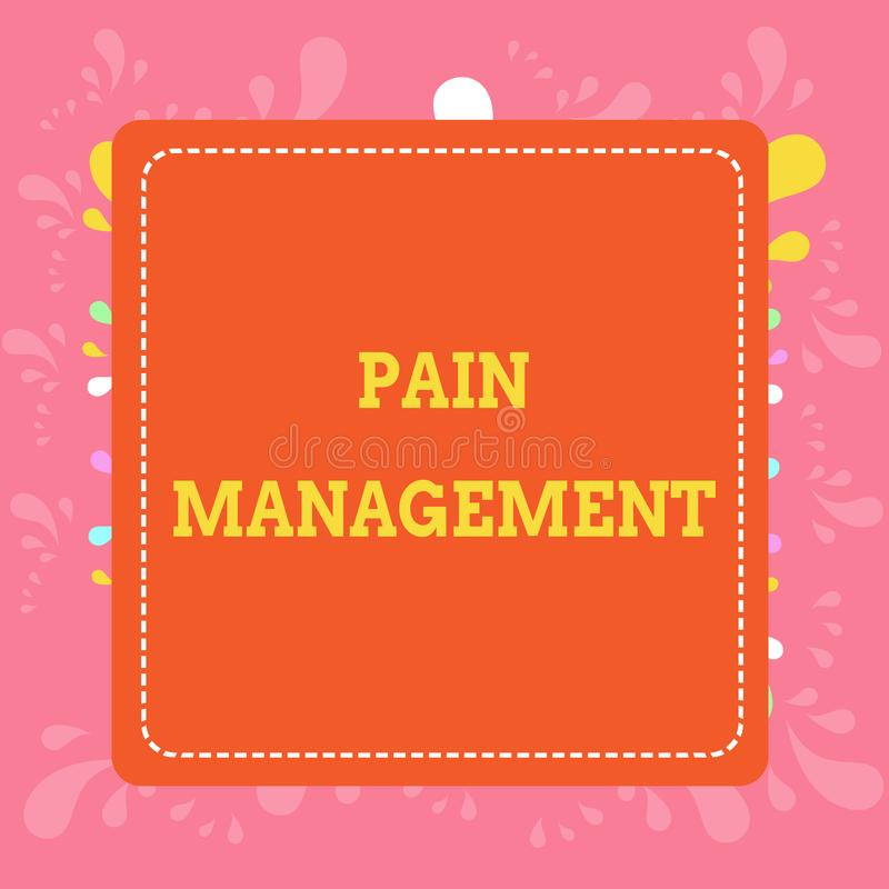 写显示痛苦管理的笔记 陈列医学部门的企业照片使用学科 库存例证