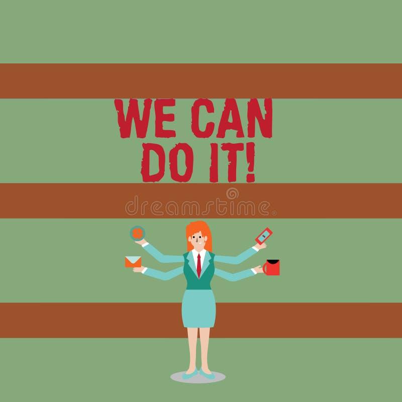 写显示的笔记我们可以做它 陈列企业的照片看自己作为强有力的可胜任的展示的妇女与 向量例证
