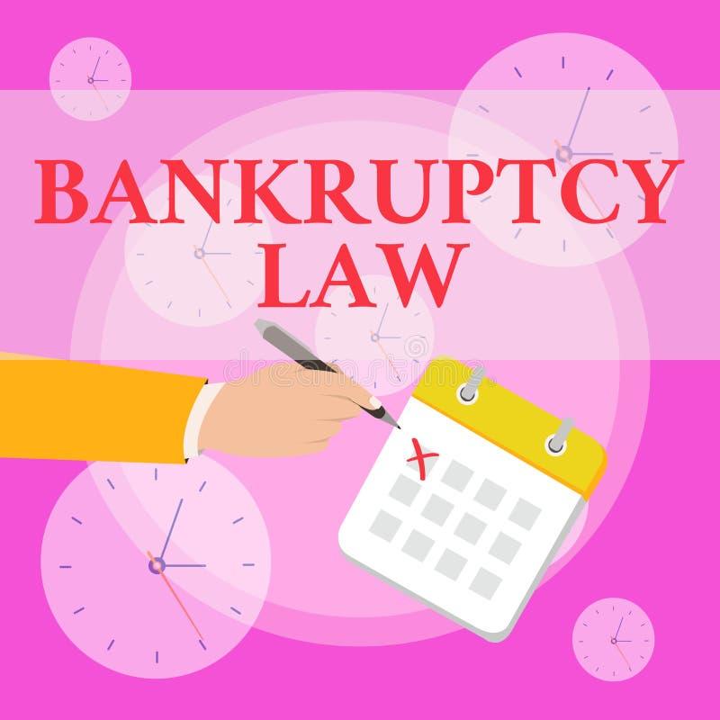 写显示破产法的笔记 企业照片陈列被设计帮助在得到财产的债权人  皇族释放例证