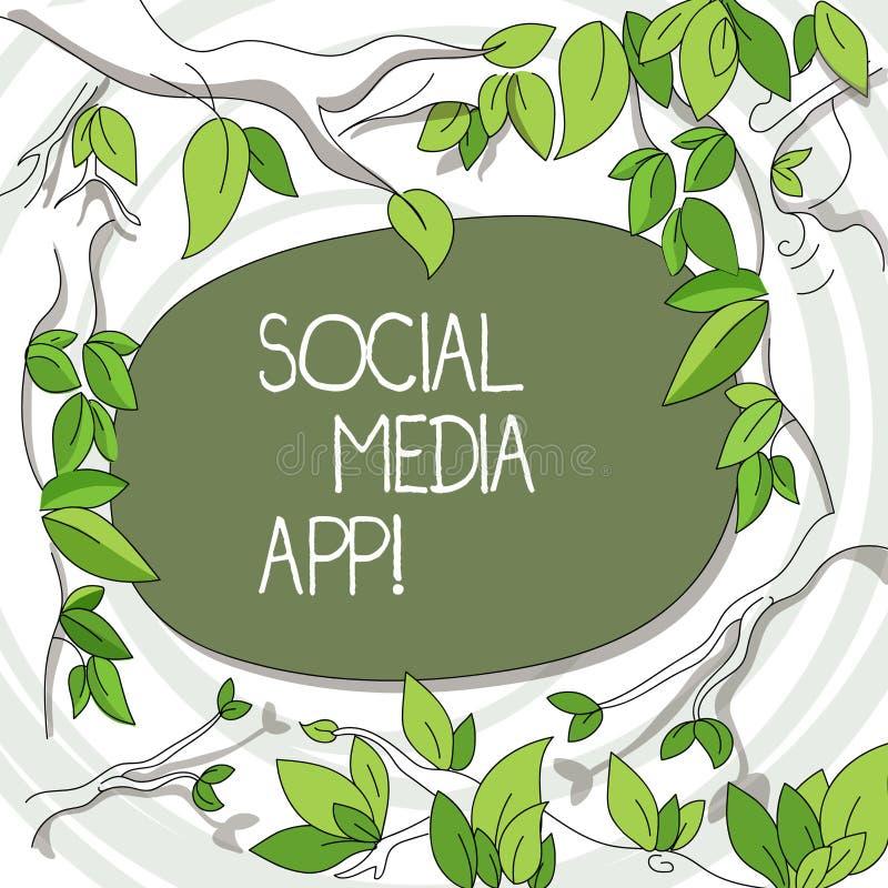 写显示社会媒介应用程序的笔记 企业照片陈列的创作和分享想法事业兴趣通过 库存例证