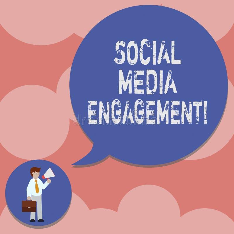 写显示社会媒介订婚的笔记 企业照片陈列的沟通在一个联机用户平台供以人员  库存例证