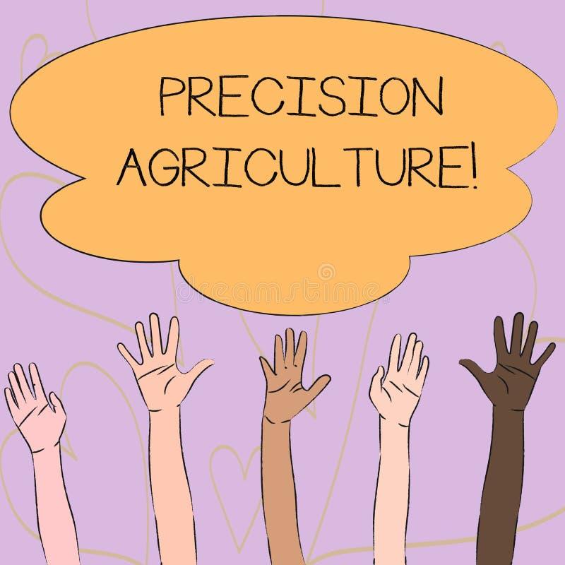 写显示精确度农业的笔记 陈列高效率的生产的企业照片现代农场经营实践 库存例证