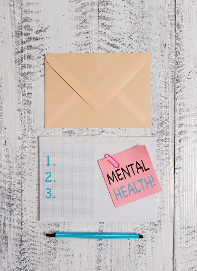 写显示精神健康的笔记 企业照片陈列的demonstratings适应尊敬对他们心理 免版税库存照片