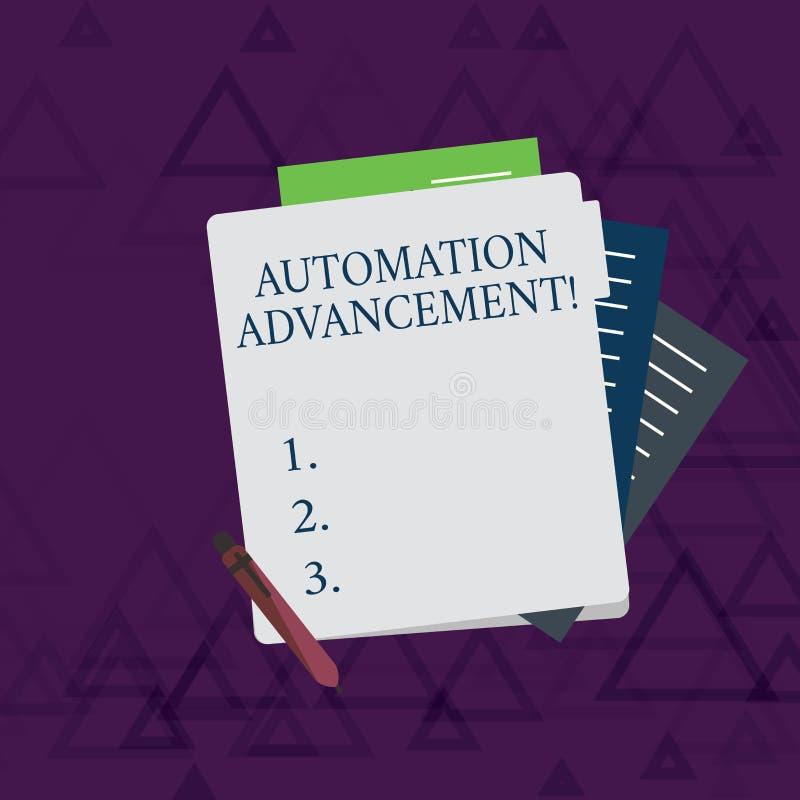写显示自动化推进的笔记 机器任务的企业照片陈列的应用一次执行的 库存例证