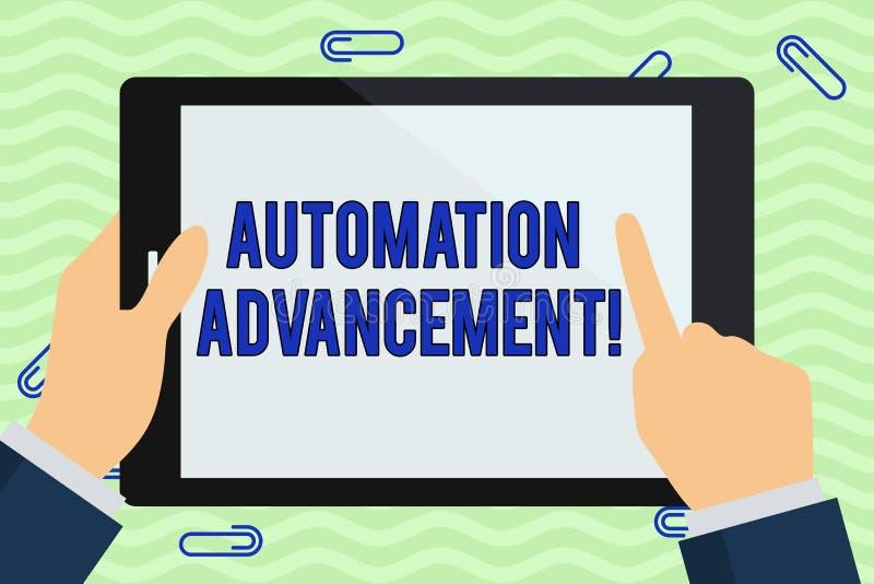 写显示自动化推进的笔记 机器任务的企业照片陈列的应用一次执行的 向量例证