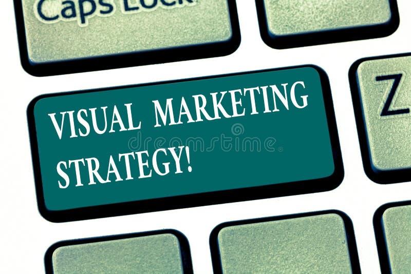 写显示视觉营销策略的笔记 企业照片陈列的连接的营销消息到图象里 免版税库存图片