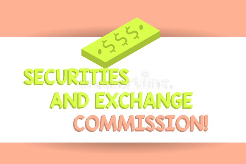 写显示证券交易委员会的笔记 交换委员会的企业照片陈列的安全 皇族释放例证