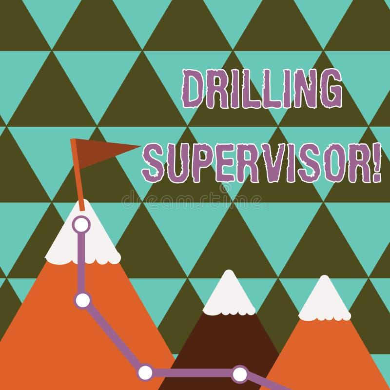 写显示钻井监督员的笔记 陈列负责商业石油钻井工作的企业照片和 皇族释放例证