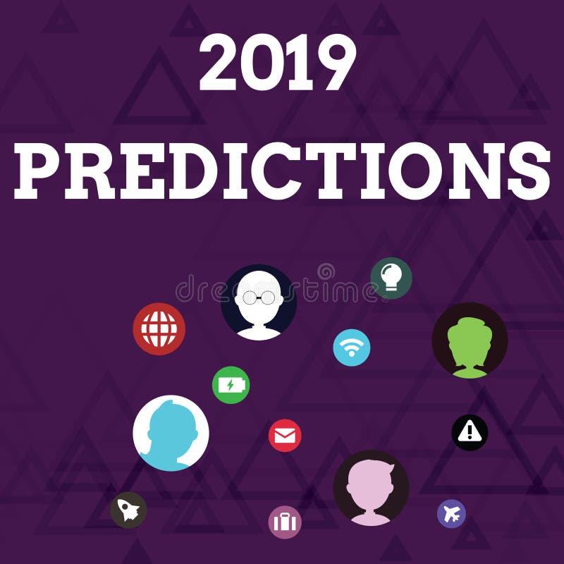 写显示2019个预言的笔记 关于什么的企业照片陈列的声明您认为在2019年将发生 库存例证