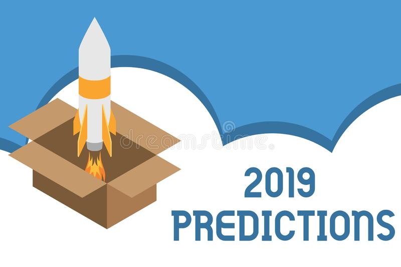写显示2019个预言的笔记 关于什么的企业照片陈列的声明您认为在2019火将发生 向量例证