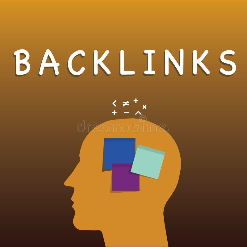 写显示Backlinks的笔记 陈列从一个网页的企业照片接踵而来的超链接到另一个大网站 库存例证
